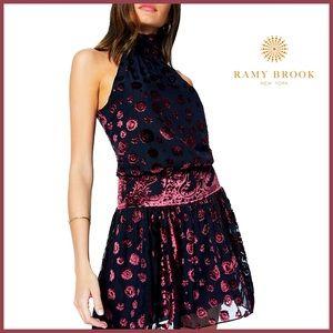 🏷 🆕 Ramy Brook Velvet Floral Short Naima Dress